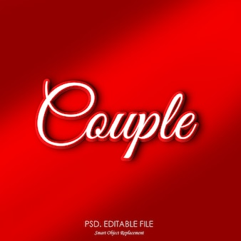 Maquette d'effet de texte romantique couple