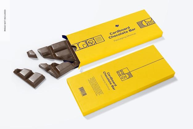 Maquette d'emballage de barre de chocolat en carton, perspective