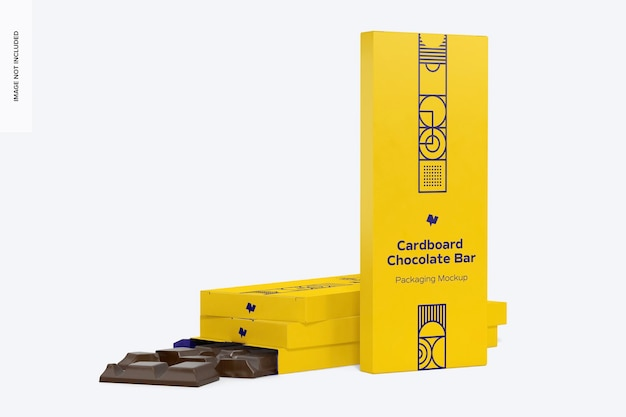 Maquette d'emballage de barre de chocolat en carton, vue de droite