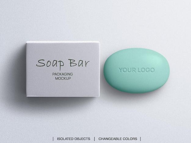 Maquette d'emballage de barre de savon vue de dessus isolée