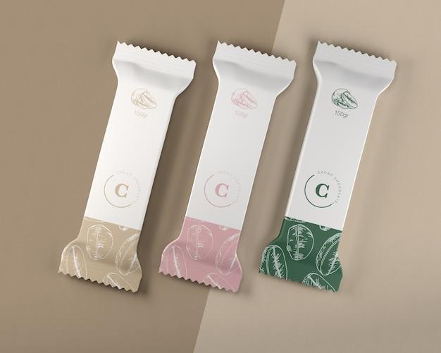 Maquette d'emballage de barres de chocolat en plastique