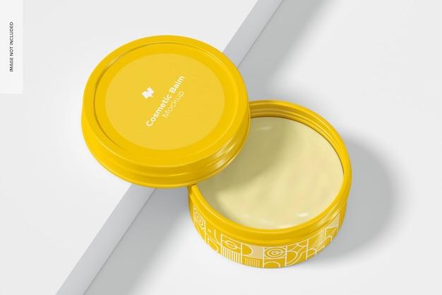 Maquette d'emballage de baume cosmétique métallique, ouverte