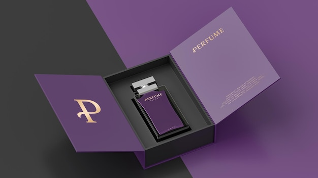 Maquette d'emballage blanc de bouteille de parfum violet pour le rendu 3d de présentation d'identité de marque