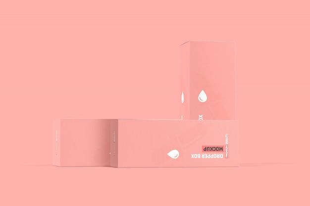 Maquette d'emballage de boîte de bouteille compte-gouttes