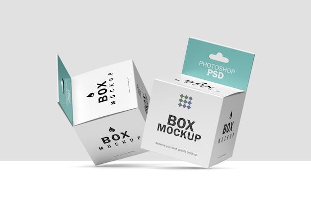 Maquette d'emballage de boîte carrée volante