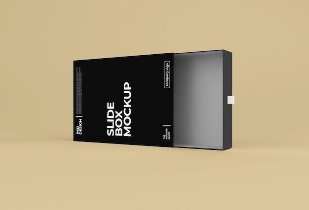 Maquette d'emballage de boîte de diapositive en papier rectangulaire