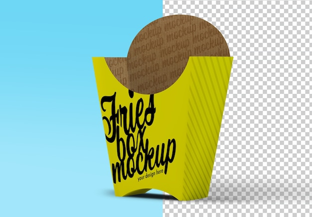 Maquette d'emballage de boîte de frites