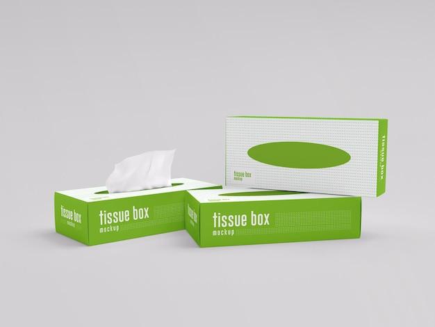 Maquette d'emballage de boîte de mouchoirs en papier
