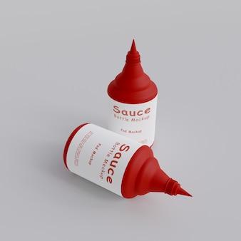 Maquette d'emballage de bouteille compressible de sauce en plastique