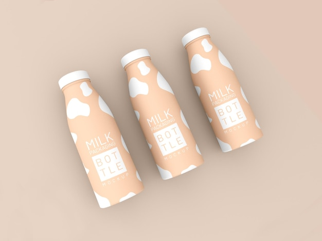 Maquette d'emballage de bouteille de lait