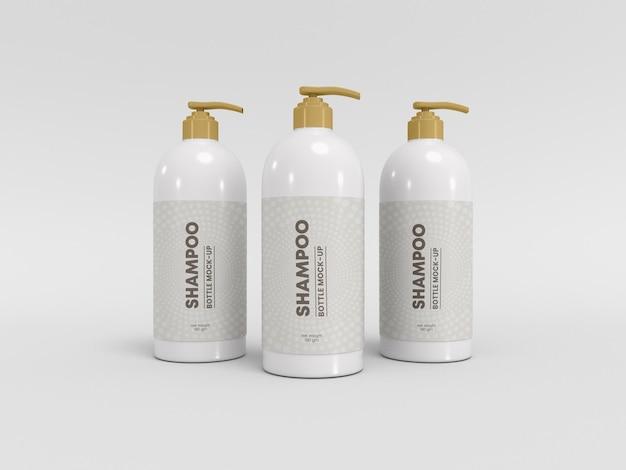 Maquette d'emballage de bouteille de pompe de shampooing