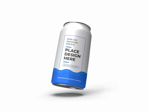 Maquette d'emballage de canette de soda isolée