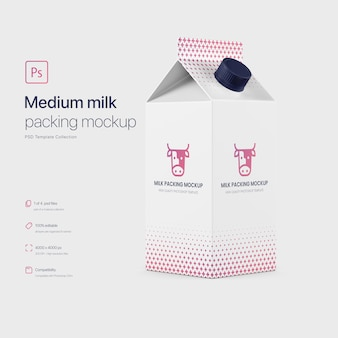 Maquette d'emballage en carton de lait moyen