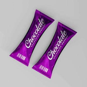 Maquette d'emballage de chocolat brillant réaliste 3d