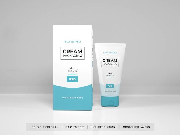 Maquette d'emballage de crème cosmétique réaliste