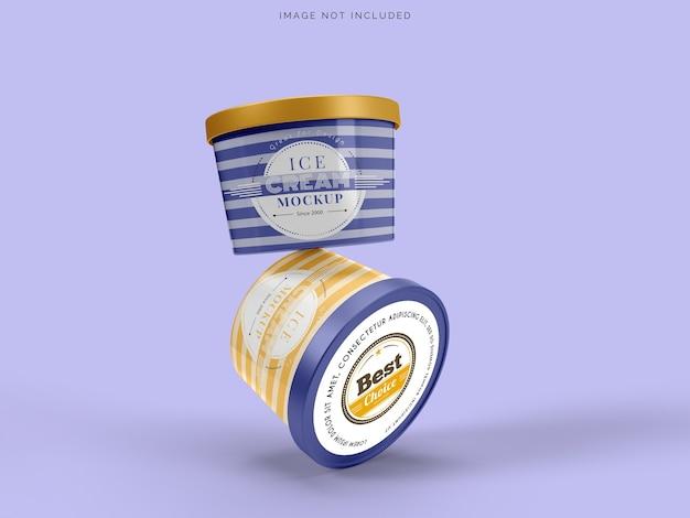 Maquette d'emballage de crème glacée de tasse de maquette pour la crème glacée