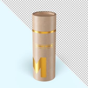 Maquette d'emballage à effet doré en tube de papier artisanal