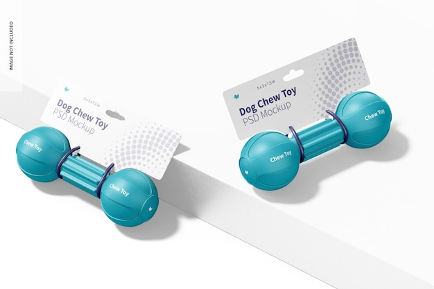 Maquette d'emballage de jouets à mâcher pour chien barbell, vue droite et gauche