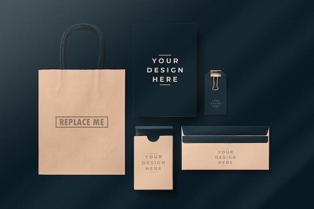 Maquette d'emballage de marque sombre