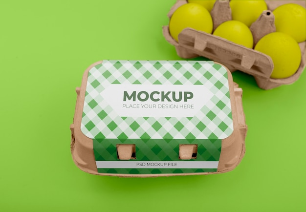 Maquette d'emballage d'œufs écologiques