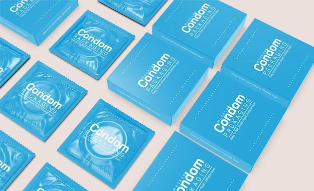 Maquette d'emballage de paquet de préservatifs