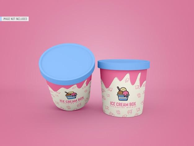 Maquette d'emballage de pot de crème glacée