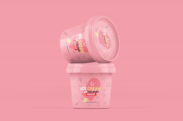 Maquette d'emballage de pots de crème glacée