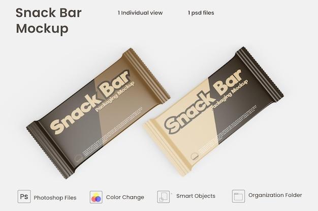 Maquette d'emballage de snack-bar au chocolat