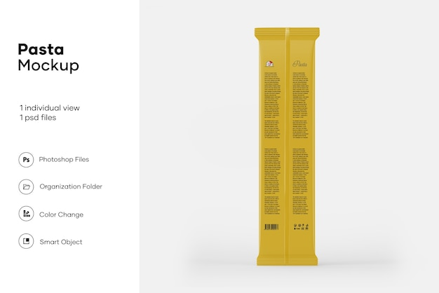 Maquette d'emballage de spaghetti en plastique transparent
