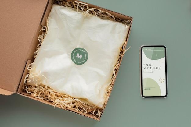 Maquette d'emballage de t-shirt écologique