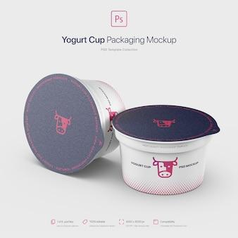 Maquette d'emballage de tasses de yogourt