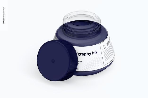 Maquette d'encre de calligraphie, vue gauche isométrique