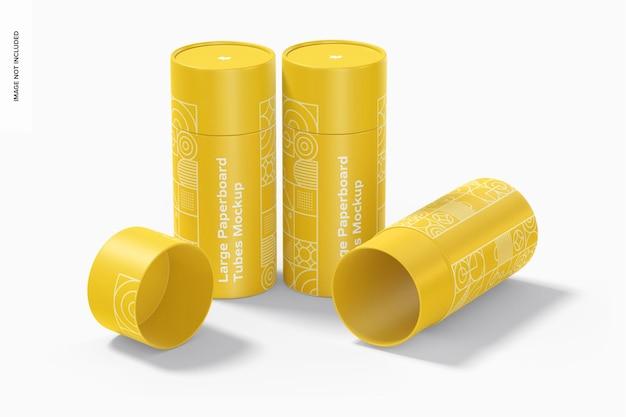 Maquette d'ensemble de grands tubes en carton, debout et tombés