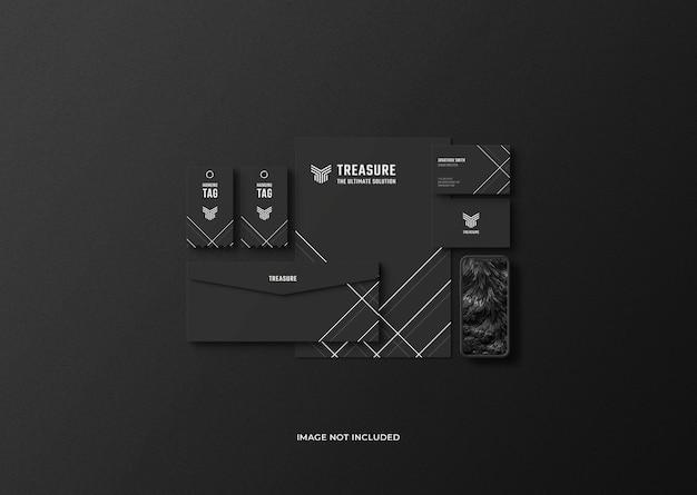 Maquette d'ensemble de papeterie noir et affaires