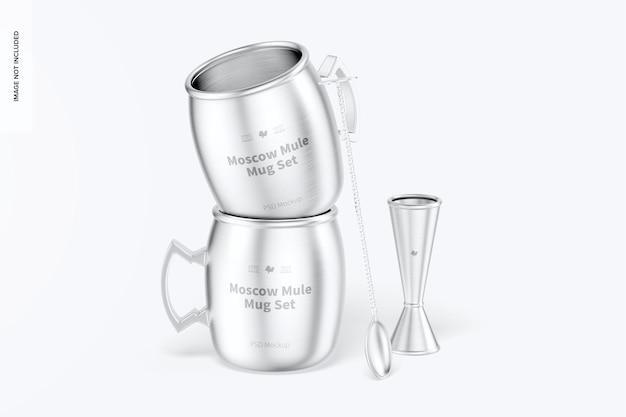 Maquette d'ensemble de tasses moscow mule, empilée
