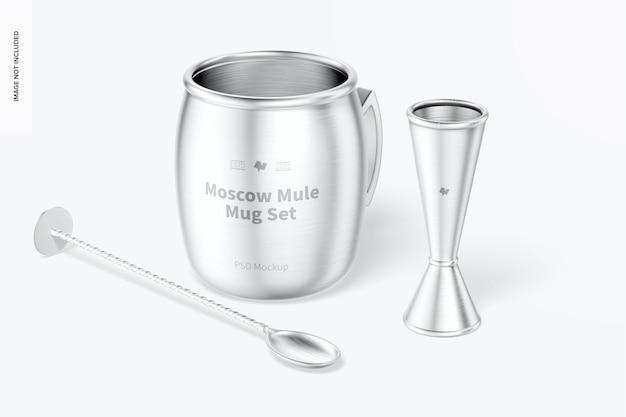 Maquette de l'ensemble de tasses moscow mule, vue de face