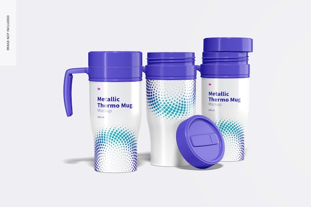 Maquette d'ensemble de tasses thermo métalliques brillantes