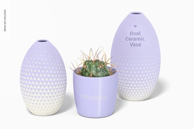 Maquette d'ensemble de vase en céramique ovale