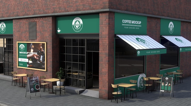 Maquette d'entreprise d'angle pour les cafés