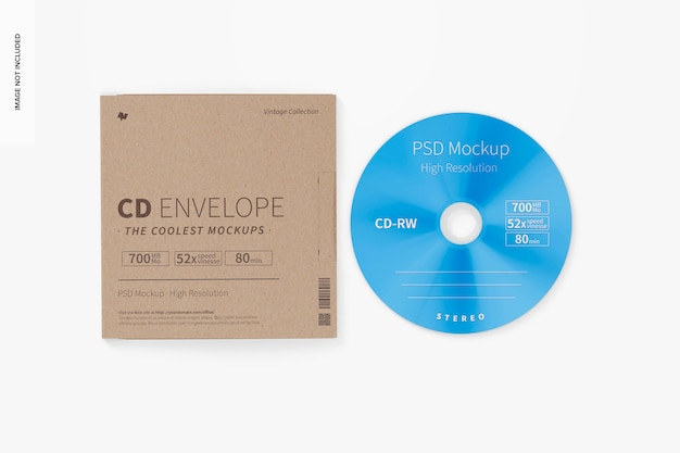 Maquette d'enveloppe de cd, vue de dessus