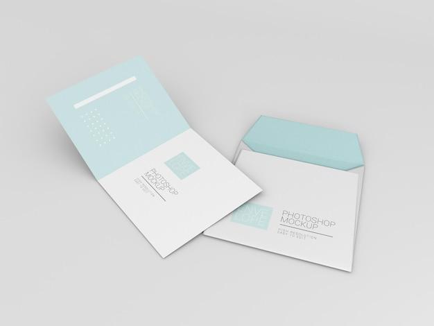 Maquette d'enveloppe avec du papier carré