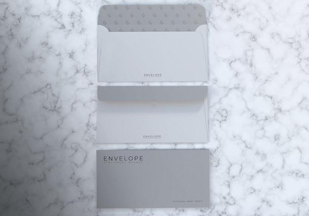 Maquette d'enveloppe de monarque réaliste 3d avec fond de texture en marbre