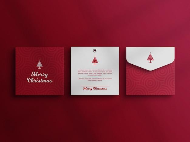 Maquette d'enveloppe de papeterie avec carte d'invitation