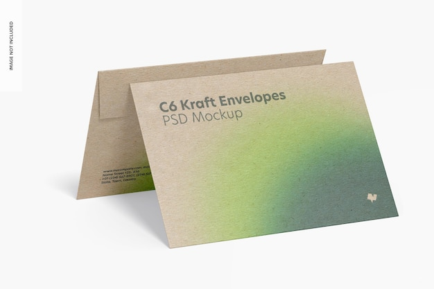 Maquette d'enveloppes kraft c6, vue de droite