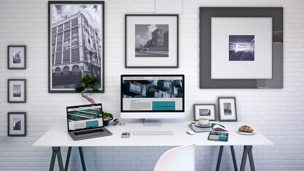 Maquette d'espace de travail avec ordinateur