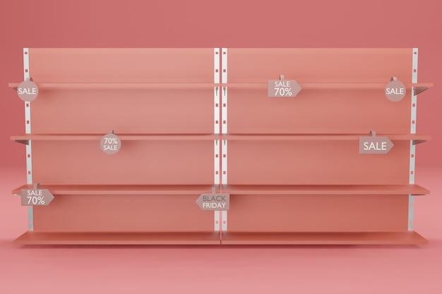 Maquette D'étagère Pour Le Placement De Produit Dans L'illustration De Rendu 3d PSD Premium