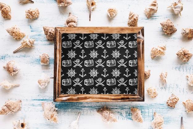 Maquette d'été avec ardoise et mollusques
