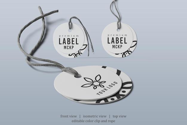 Maquette d'étiquette arrondie avec différents points de vue