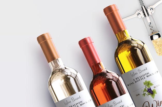 Maquette d'étiquette de bouteille de vin réaliste
