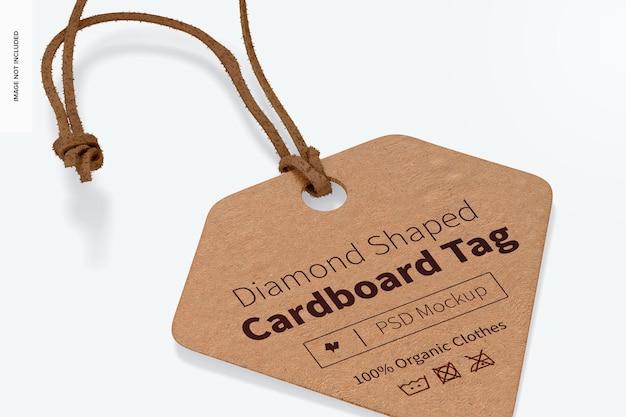 Maquette d'étiquette en carton en forme de diamant, gros plan